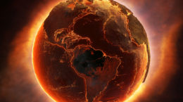 Earth burning after a global disaster